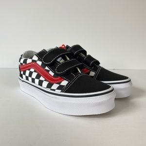 Vans Old Skool V Checkerboard Black Red Sneakers